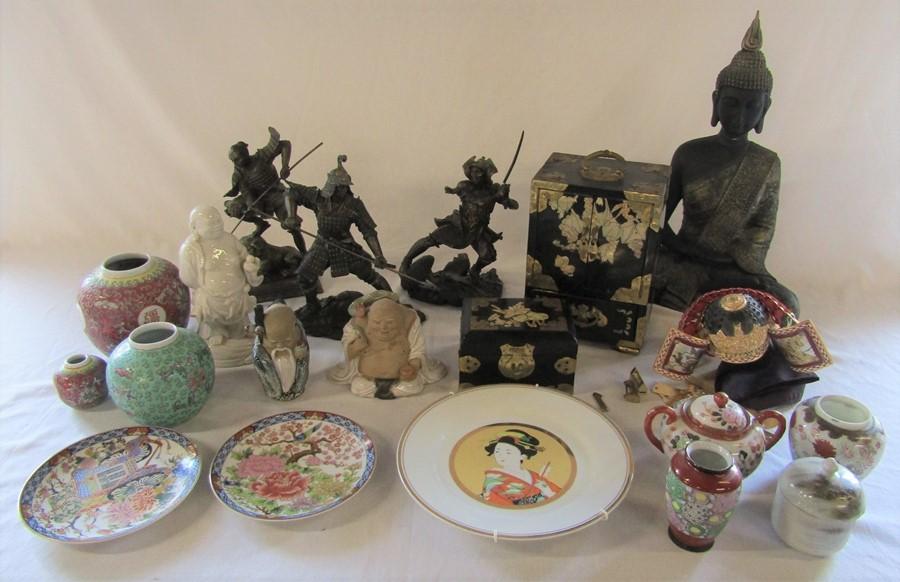 Various Oriental ceramics, jewellery boxes etc