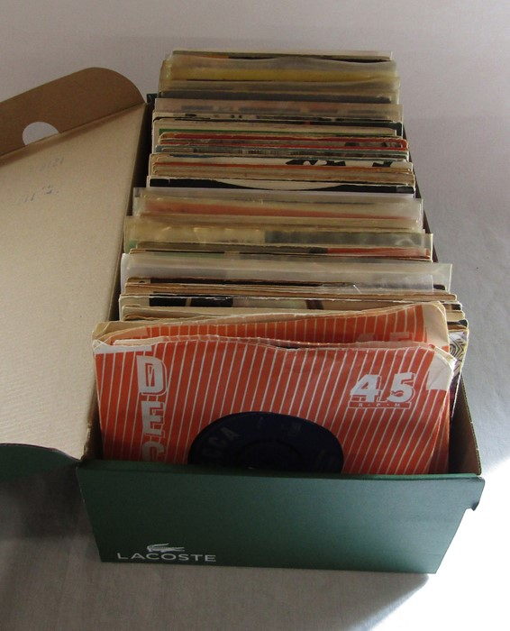 """Box of 7"""" singles inc The Rolling Stones, Nat King Cole, Platters, Frank Sinatra, Cilla Black, The"""