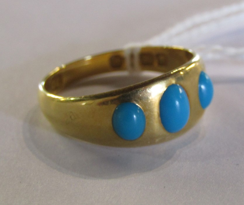 18ct gold turquoise ring size O weight 3.9 g - Image 7 of 11