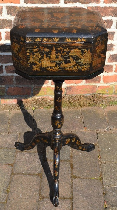 Lacquer teapoy/box on pedestal tripod stand with gilded decoration - Image 3 of 5