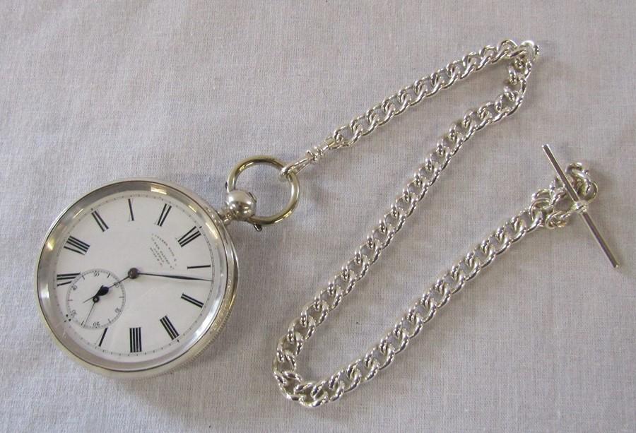 Swiss silver pocket watch, Camerer Kuss & Co 56 New Oxford Street, London, 3 bears mark D 5 cm - Image 2 of 5