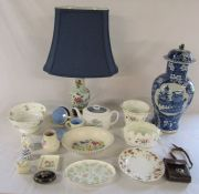 Various ceramics inc Minton, Susie Cooper, Limoges, Wedgwood and Poole, Oriental style lamp and