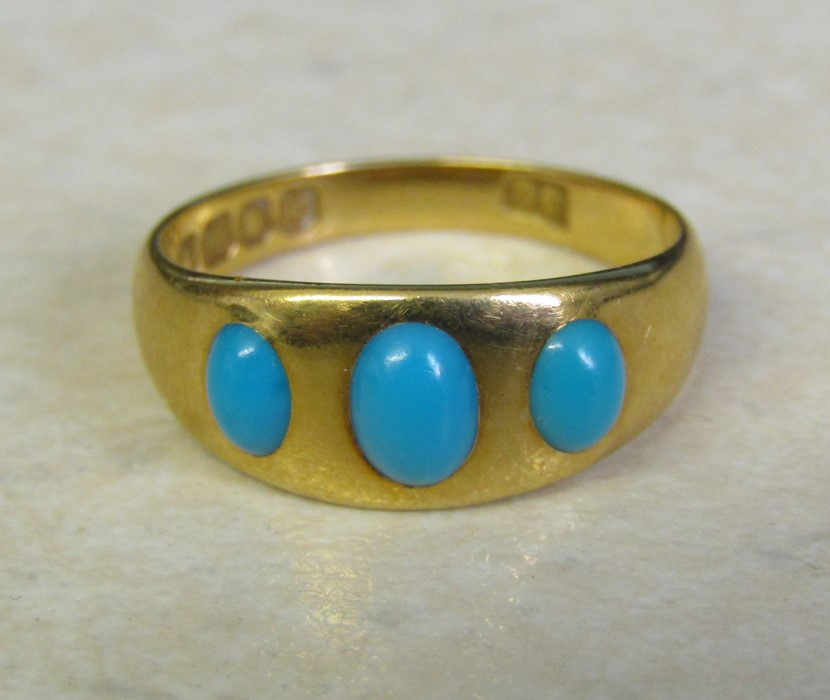 18ct gold turquoise ring size O weight 3.9 g
