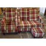 Modern 2 seater sofa, arm chair & footstool in tartan fabric
