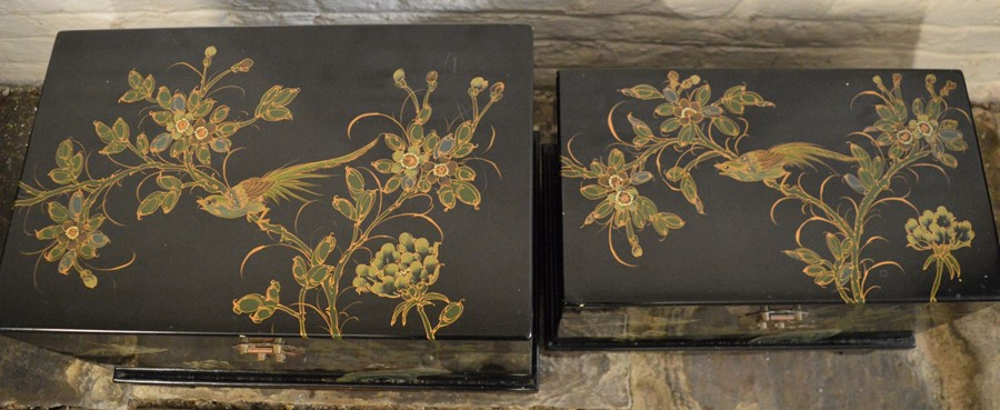 Pair of Oriental lacquer graduated chests on bases. Largest L58cm D 38cm Ht 44cm - Image 2 of 8