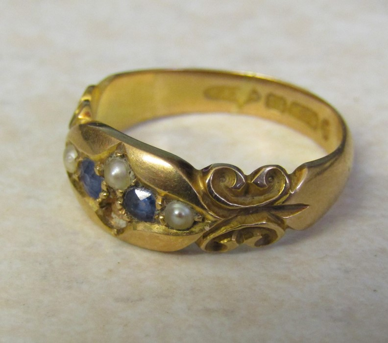 Victorian 15ct gold sapphire and seed pearl ring (missing one seed pearl) size L/M weight 3.7 g - Image 2 of 4