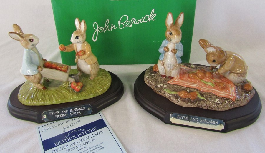 Two large limited edition Beswick Beatrix Potter figurines - Peter and Benjamin picking apples P