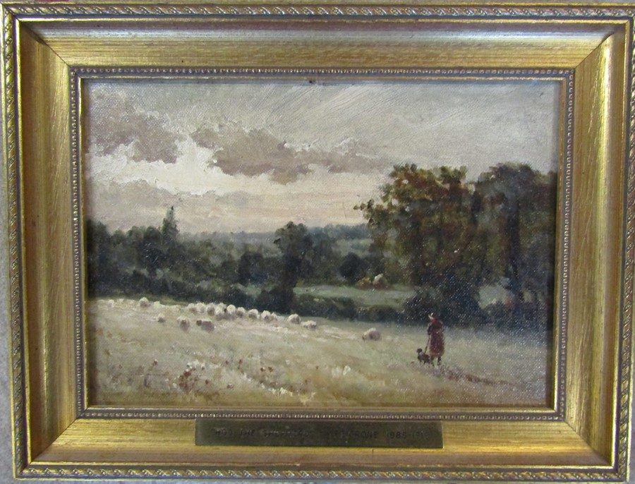 Ferdinand E Grone (1845-1920) gilt framed oil on board of a landscape signed F E Grone with brass