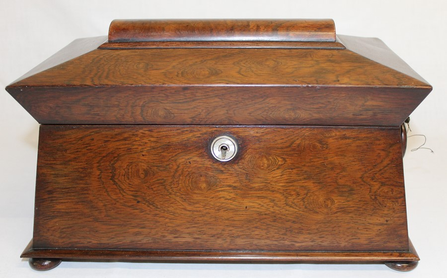 Large 19th century rosewood sarcophagus tea caddy, 33.5cm wide (damage to right handle)