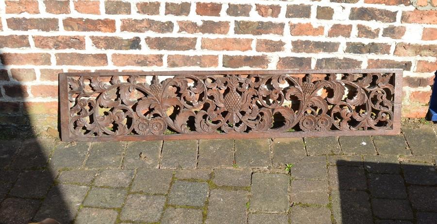 Carved wooden panel L 156 cm D 32 cm