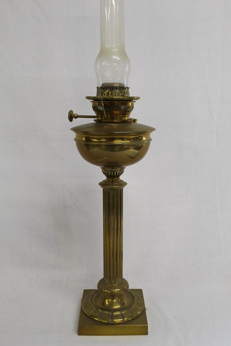 Large brass paraffin lamp with classical column (converted to electric) ht without chimney 53cm