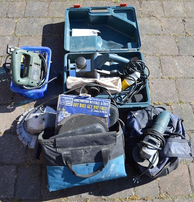 Rapesco nail gun, Bosch jigsaw, Bosch planer, grinder, Bosch grinder and accessories