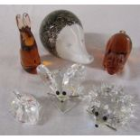 3 Swarovski crystal animals - swan, hedgehog and mouse & 3 Wedgwood glass animals