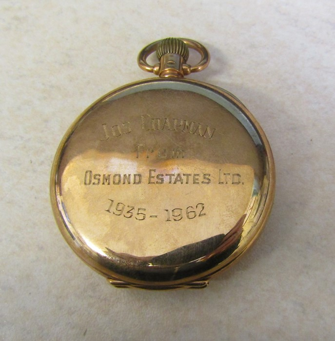 9ct gold half hunter Waltham pocket watch (glass broken), Birmingham 1926, engraved to Jos Chapman - Image 2 of 5