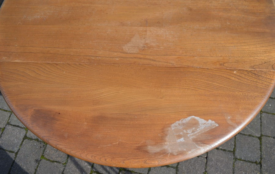 Ercol drop leaf table (marked top) 112cm by 124cm & 4 Ercol comb back chairs - Image 4 of 6