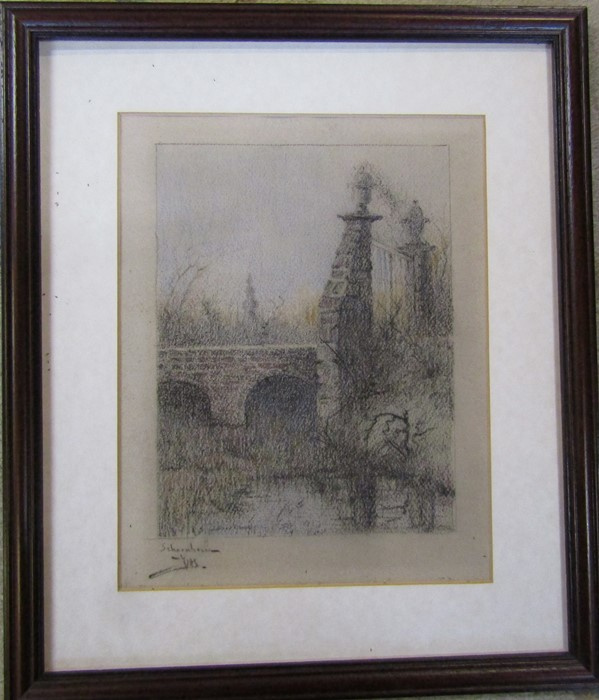 Jacques Van Den Seylbergh (1884-1960) - framed pastel and watercolour landscape signed lower right - Image 2 of 4