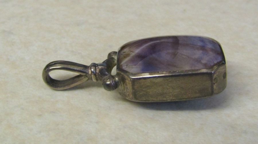 Sterling silver and Blue John double sided pendant, weight 11.6 g, H 4 cm - Image 4 of 6