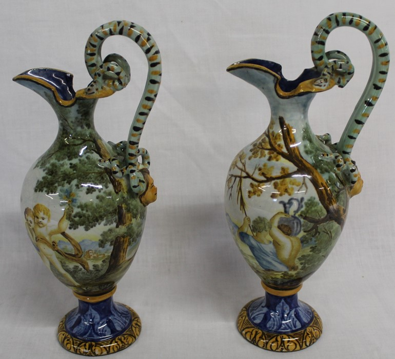 Pair of Italian 16th century style maiolica ewers (30cm high), Poole plate, Mason's Mandalay - Image 2 of 6
