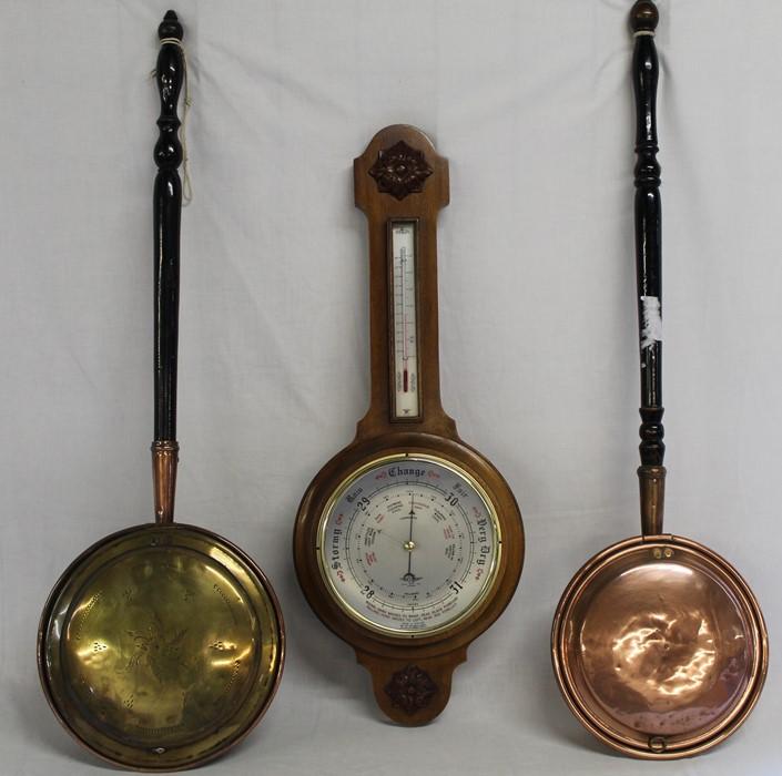 2 brass / copper warming pans & Smiths aneroid barometer