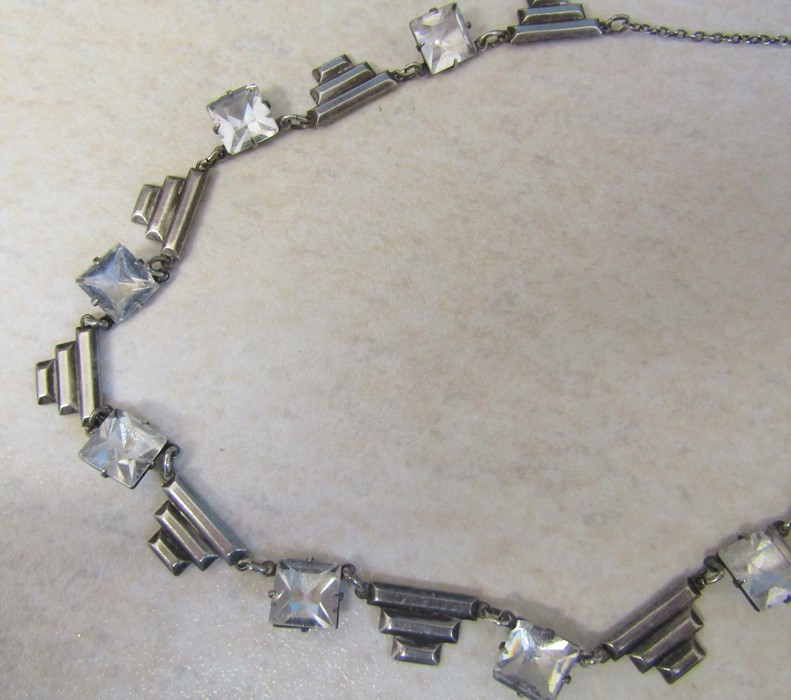 Michaela Frey enamel bangle and pendant, silver Art Deco style necklace and a string of pearls L 120 - Image 3 of 9