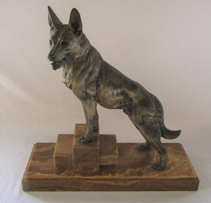 Art Deco bronze of an Alsatian dog on a raised marble base, signed L Carvin L 41.5 cm H 44 cm