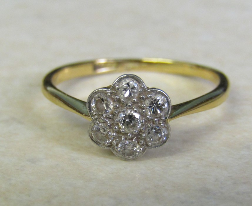 9ct gold (minimum - hallmarked indistinguishable) and platinum diamond daisy ring size O/P weight