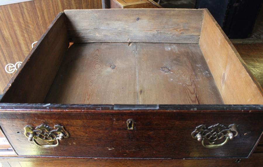 Georgian oak mule chest on bracket feet L 123cm D 55cm Ht 82cm - Image 18 of 18
