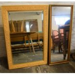 2 large gilded wall mirrors. Largest 95cm by 64cm