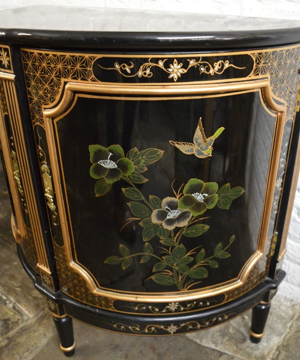 Oriental lacquer bow fronted cabinet on legs W 82cm Ht 82cm - Image 2 of 2
