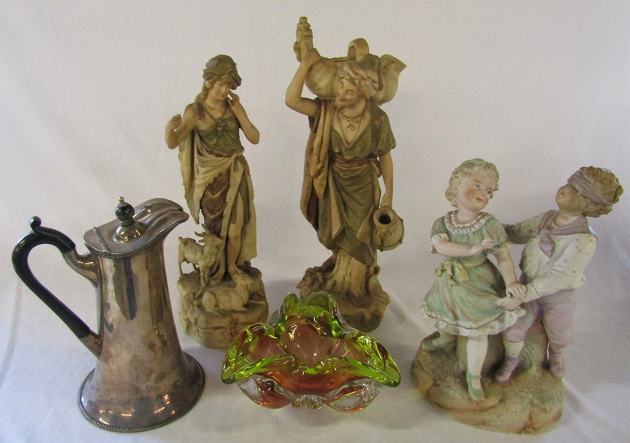 Selection of ceramics inc Royal Dux 1052 water carrier H 41 cm and 136 shepherdess H 37 cm ( - Image 8 of 15