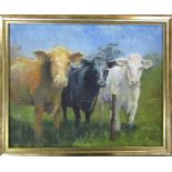 Framed oil on canvas of cattle by Grimsby artist Les Porter 2012 54 cm x 44 cm (size including