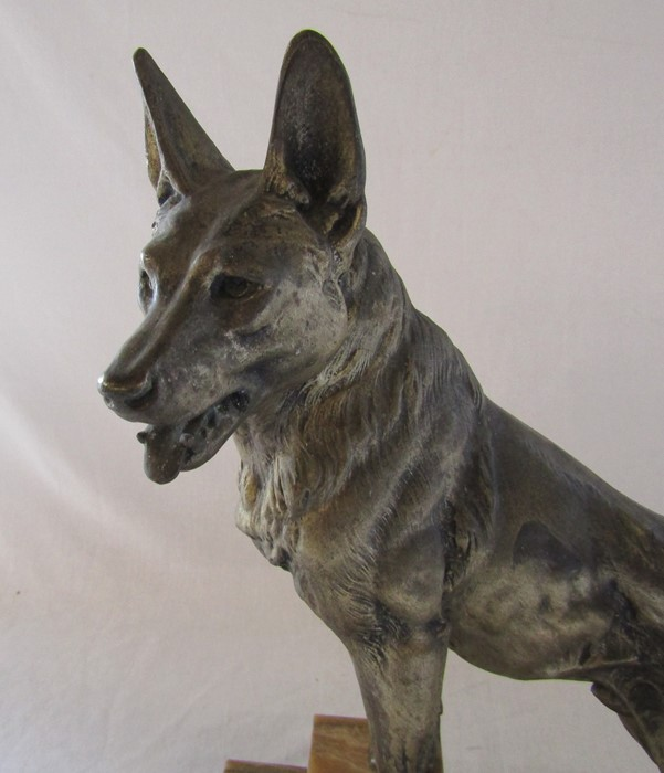 Art Deco bronze of an Alsatian dog on a raised marble base, signed L Carvin L 41.5 cm H 44 cm - Image 3 of 5