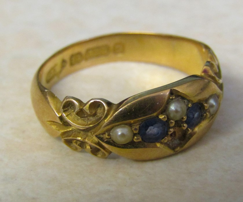 Victorian 15ct gold sapphire and seed pearl ring (missing one seed pearl) size L/M weight 3.7 g - Image 3 of 4