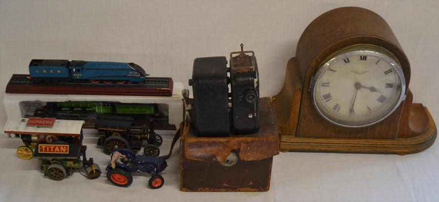 Camo Baby Cine-camera, mantel clock, model trains, steam engines & a diecast tractor