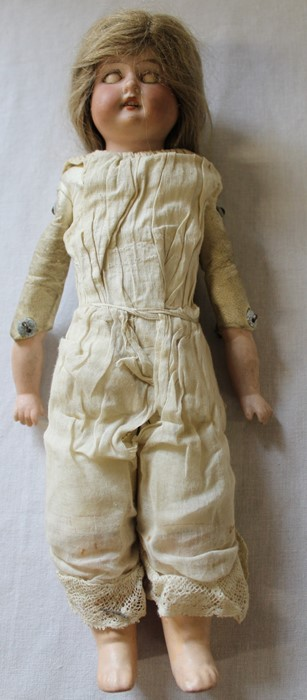 Armand Marseille bisque head doll marked AM-8 with kid leather body, bisque limbs, sleeping eyes, - Image 8 of 9