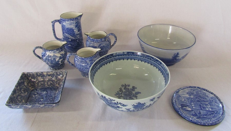Selection of blue and white ceramics inc Old Foley & Chinese bowl 23cm diameter