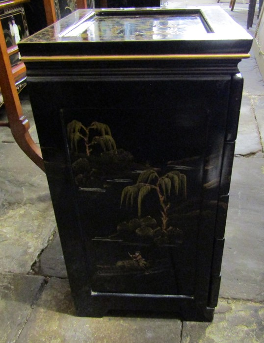 Small Oriental lacquer 5 draw cabinet / jewellery box H 48 cm L 30 cm D 25.5 cm & a cabinet with - Image 7 of 12