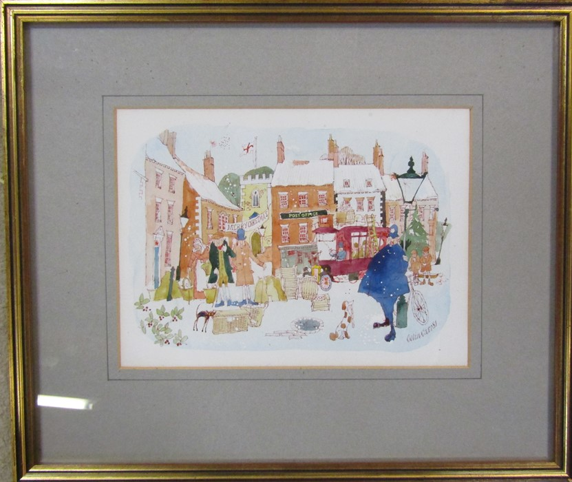 Colin Carr (1929-2002) framed watercolour of Caistor market place, signed and dated 1981 lower right