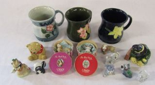 3 Moorcroft style mugs, Wade figures inc The Hat Box Series (two boxed), Coalport Paddington waits