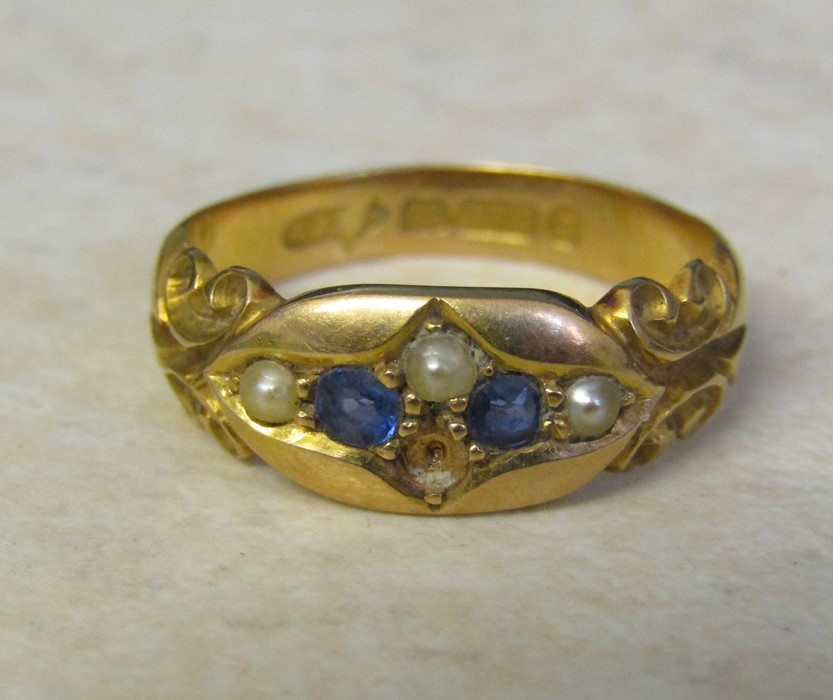 Victorian 15ct gold sapphire and seed pearl ring (missing one seed pearl) size L/M weight 3.7 g