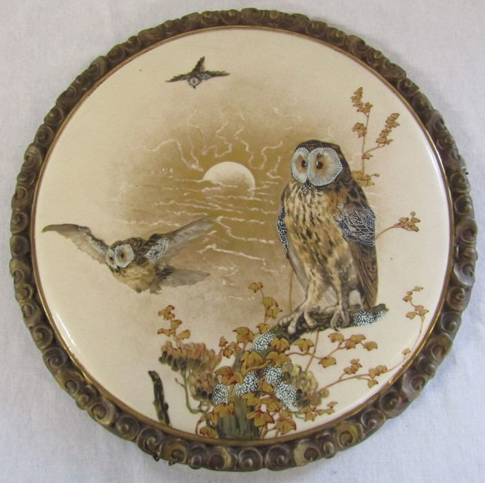 Hand painted wall plaque decorated with owls, with T Goode & Co South Audley Street London Grosvenor