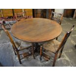 Titchmarsh & Goodwin circular pedestal dining table (dia 113cm) & 4 rush seated spindle back chairs