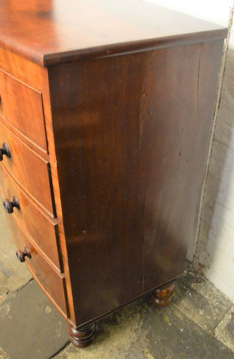 Victorian bow fronted mahogany veneer chest of drawers Ht 116cm L 110cm D 55cm - Image 3 of 10