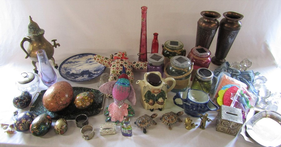 2 boxes of assorted ceramics, glassware, silver plate etc inc Caithness, Tony Wood 'Darby & Joan',