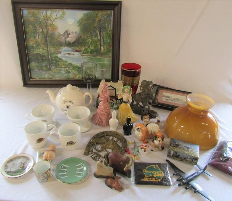 Various ceramics, glassware, pictures, lamp shade, Ringtons tea service etc