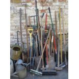 Large quantity of garden and building tools inc watering cans