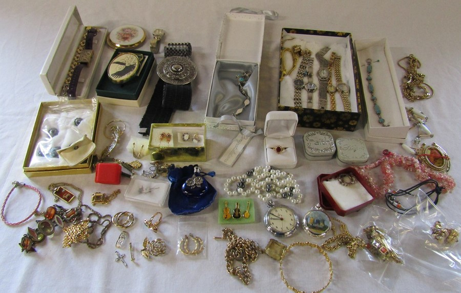 Selection of costume jewellery and watches
