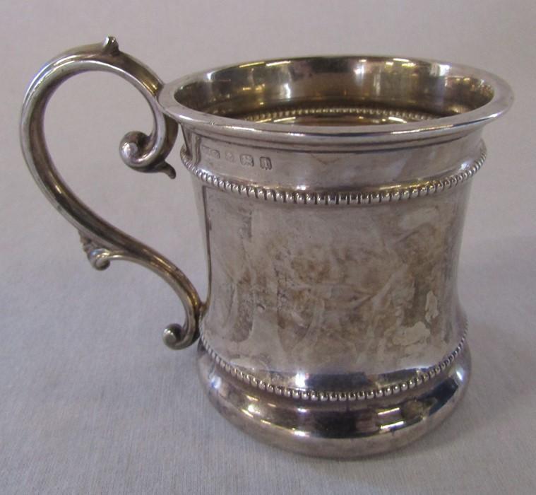 Silver christening tankard Birmingham 1908 H 7 cm weight 2.98 ozt