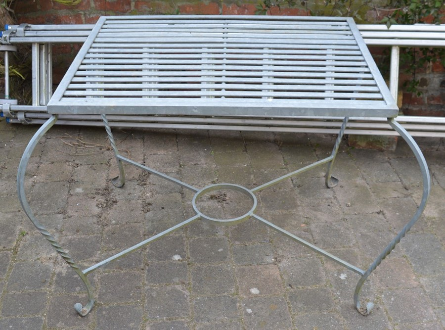 Wrought iron patio table 111cm by 92cm