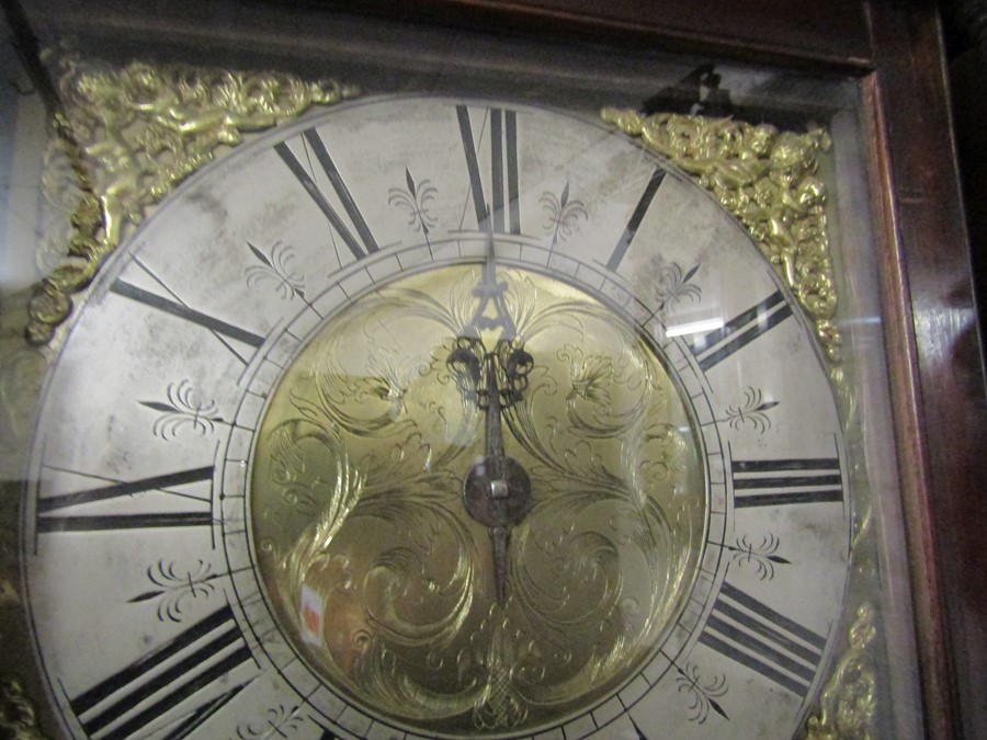 18th century 30 hour long case clock with brass and silver dial engraved 'Smorthwait in - Image 12 of 15